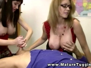 Mature handjob threeway with busty milfs