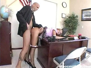 hot blonde schoolgirl rammed from behind by her prof