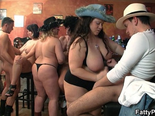 Group fat orgy in the pub